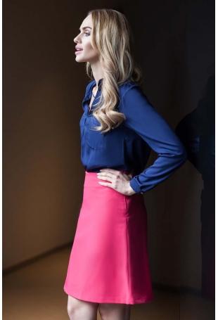 Trapezowa Mini Spódnica - Różowa