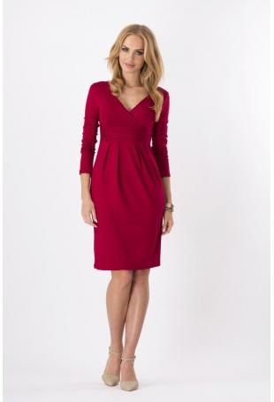 Bordowa Elegancka Sukienka Midi z Kopertowym Założeniem