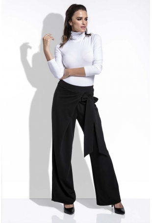 Czarne Spodnie Eleganckie Szerokie z Wiązaniem na Boku