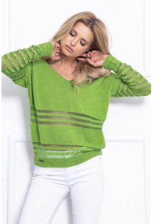 Zielony Luźny Sweter z Trójkątnym Dekoltem w Paski