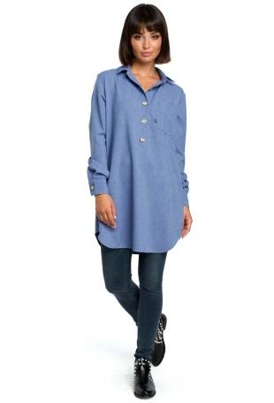 Niebieska Długa Koszula z Kieszenią