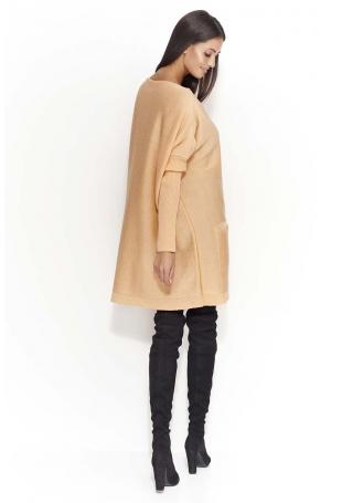 Morelowy Oversizowy Sweter z Kieszeniami