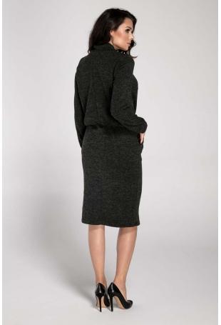 Czarna Sukienka Midi z Półgolfem