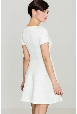 Biała Rozkloszowana Sukienka z Krótkim Rękawem