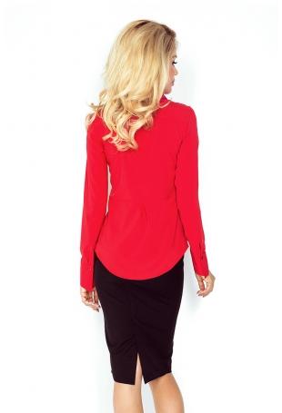Czerwona Elegancka Koszula z Baskinką