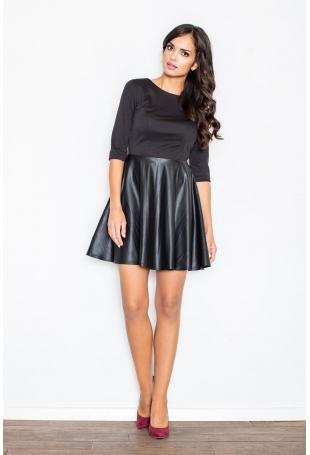 Czarna Sukienka z Rozkloszowaną Spódnicą z Ekoskórki