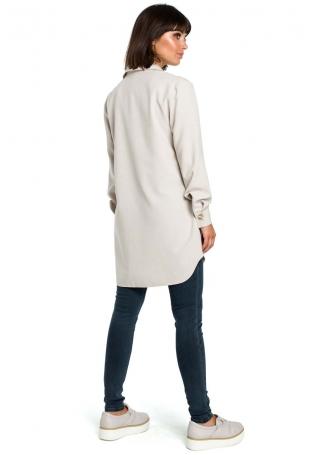 Beżowa Długa Koszula z Kieszenią