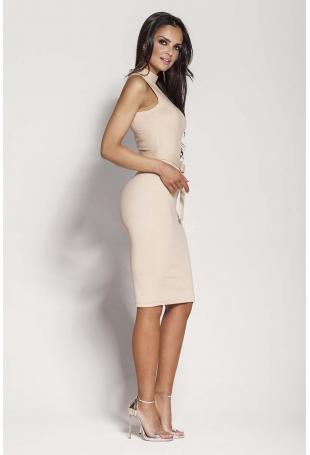 Beżowa Elegancka Ołówkowa Sukienka z Połyskiem
