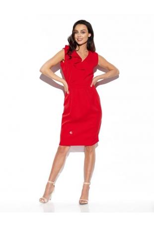 Czerwona Elegancka Wizytowa Sukienka z Pionową Falbanką