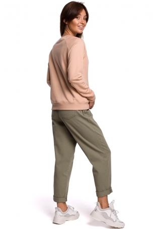 Klasyczna Bluza Dresowa z Nadrukiem - Beżowa