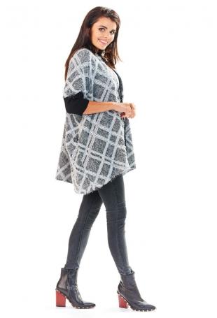 Sweter we Wzory z Czarnymi Ściągaczami Wzór - Romby
