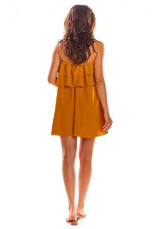 Kamelowa Zwiewna Mini Sukienka z Hiszpańskim Dekoltem