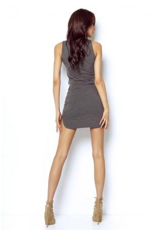 Grafitowa Asymetryczna Mini Spódnica na Gumie