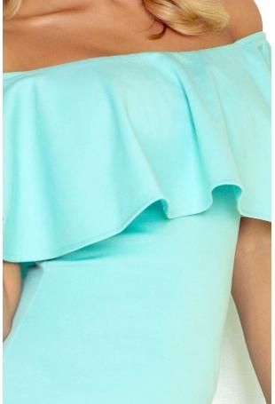 Miętowa Sukienka Ołówkowa z Hiszpańskim Dekoltem