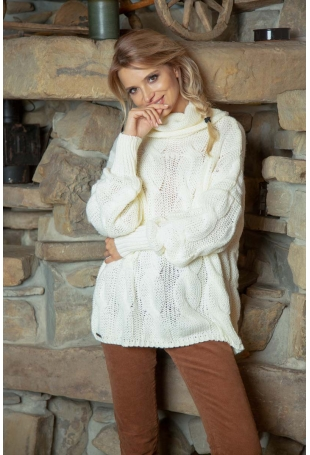 Ecru Obszerny Sweter z Golfem w Warkocze