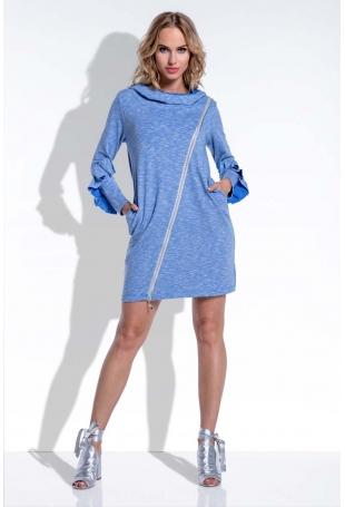 Niebieska Sukienka Mini z Falbankami na Rękawach Uszyta