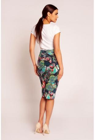 Granatowa Elegancka Spódnica Midi w Kolorowe Motyle