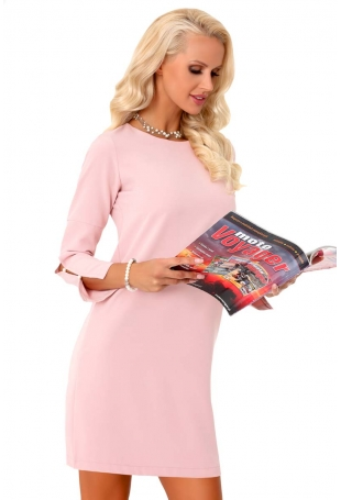 Różowa Prosta Sukienka z Ozdobnym Rękawem