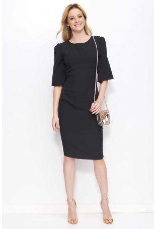 Czarna Sukienka z Prostokątnym Wycięciem na Plecach