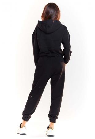 Czarna Krótka Bluza z Kapturem z Błyszczącą Tasiemką