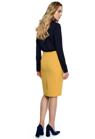 Żółta Klasyczna Ołówkowa Spódnica z Modelującymi Przeszyciami