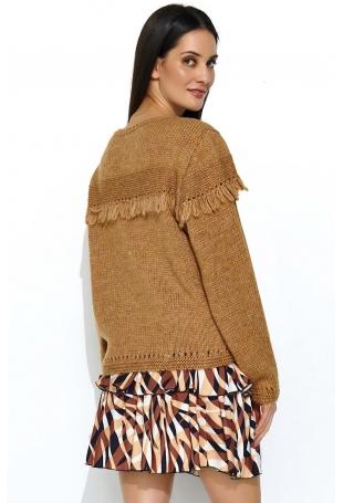 Kamelowy Oversizowy Sweter z Ażurowym Rękawem
