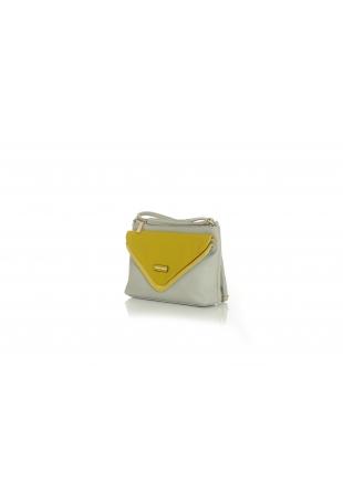 Szaro-limonkowa Prostokątna Torebka na Pasku z Kontrastową Kieszenią