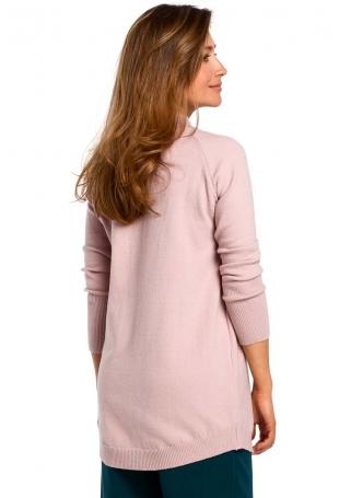 Różowy Sweter-Tunika z Półgolfem
