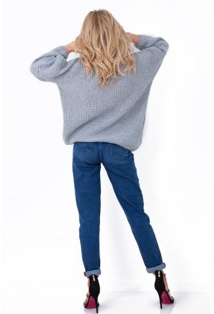 Szary Oversizowy Sweter z Ozdobnym Splotem