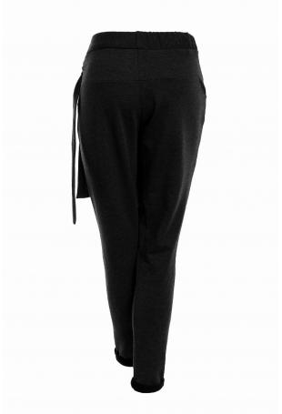Czarne Dzianinowe Wygodne Spodnie Baggy