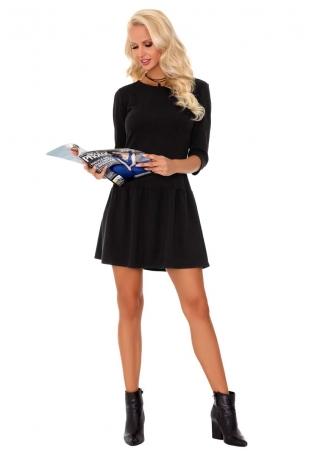 Czarna Casualowa Sukienka Dzianinowa z Obniżonym Stanem