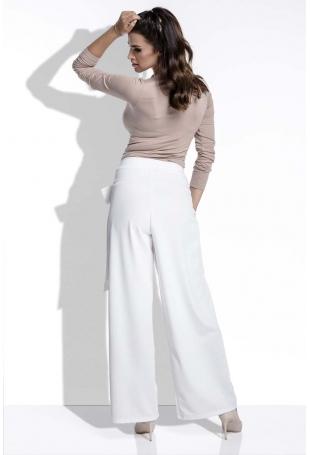 Ecru Spodnie Eleganckie Szerokie z Wiązaniem na Boku