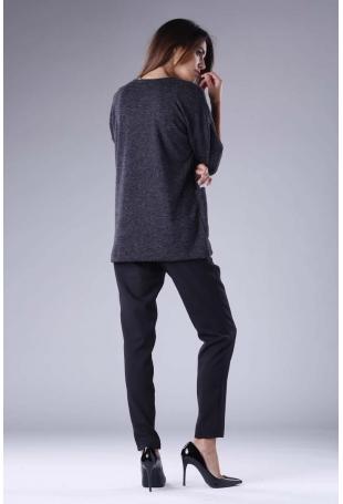 Czarna Dzianinowa Bluzka z Kieszeniami
