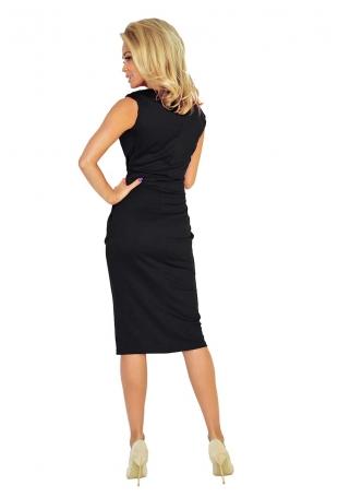 Czarna Sukienka Elegancka Midi z Zaznaczoną Talią