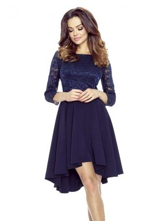 Granatowa Sukienka Rozkloszowana Asymetryczna z Koronkową Górą