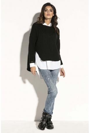 Czarny Asymetryczny Sweter z  Dekoltem w Łódkę