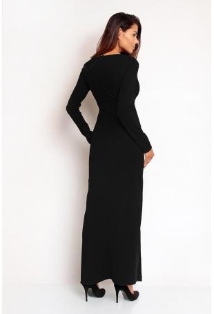 Czarna Seksowna Sukienka Maxi z Dekoltem V z Długim Rękawem