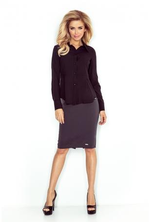Czarna Elegancka Koszula z Baskinką