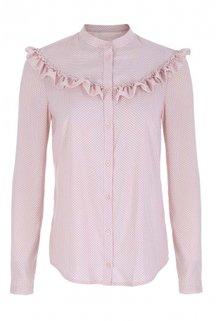 Różowa Koszulowa Bluzka z Falbankami