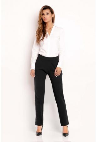 Czarne Eleganckie Proste Spodnie na Pasku