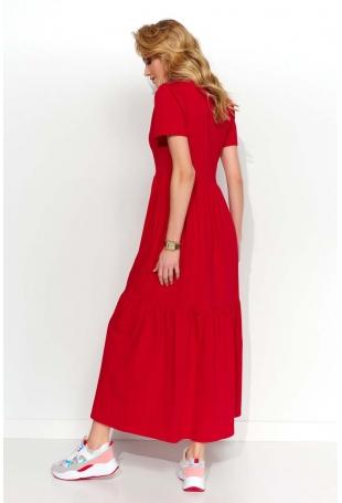 Czerwona Dzianinowa Maxi Sukienka z Dekoltem V