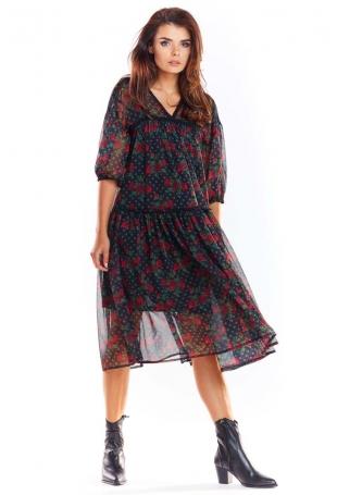 Zwiewna Wzorzysta Sukienka z Szyfonu - Wzór 1