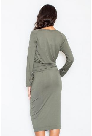 Oliwkowa Sukienka Midi z Podpinanym Rękawem
