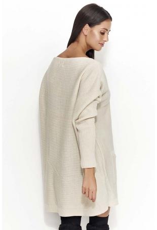Beżowy Oversizowy Sweter z Kieszeniami