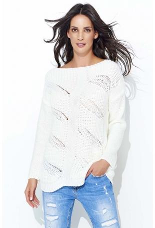 Ecru Klasyczny Sweter w Łódkę z Ażurowym Przodem