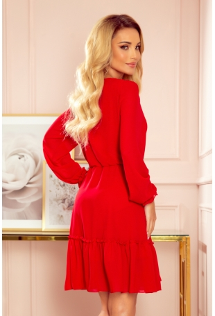 Zwiewna Szyfonowa Sukienka z Falbankami - Czerwona