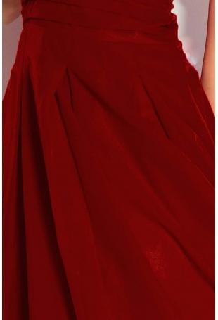 Bordowa Sukienka Wieczorowa z Szyfonu z Dekoltem V