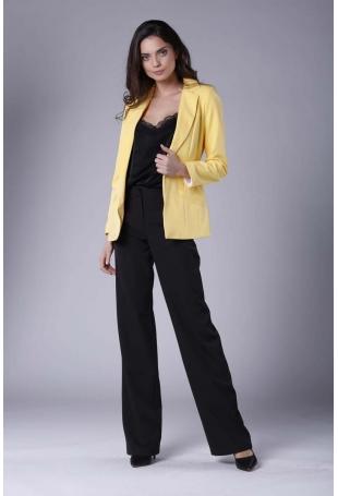Żółty Elegancki Klasyczny Żakiet bez Zapięcia