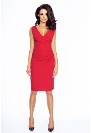 Czerwona Elegancka Sukienka Wizytowa z Głębokim Dekoltem