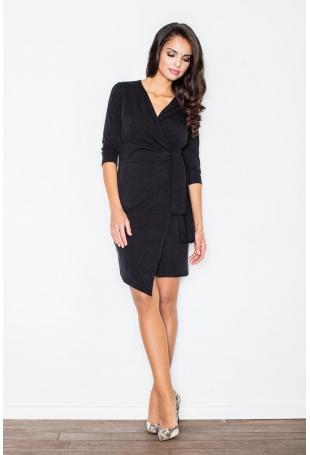 Czarna Elegancka Sukienka z Wiązaniem